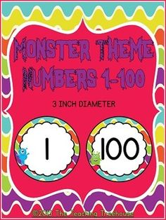 These adorable number cards will go great with any monster theme classroom décor! Each card measures 3 inches in diameter. Included are numbers 1-100. Use these numbers in a variety of ways; students can practice putting them in numerical order, use them for student selection, for labels, ect. Use them however you like! $