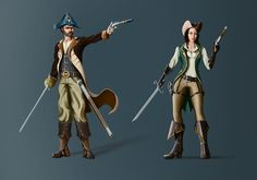 Design two concept art characters for Pirate Assault, a new strategy game for iPad/PC by Sebastian Sabo