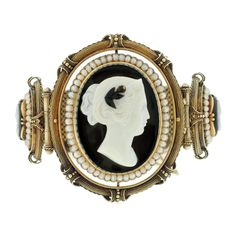 Exquisite Victorian Hard Stone Cameo & Natural Pearl Gold Bracelet, ca. 1880, having not just one, but 3 cameos