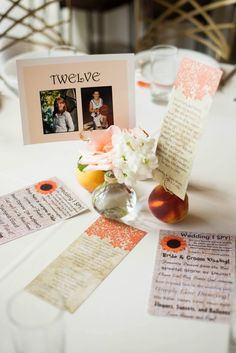Table Number card with photos of Bride and Groom at that age, menu card, I spy cards (2 versions) for each table.