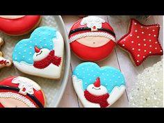 Snowman and Santa (Santa's belly) Cookies - YouTube
