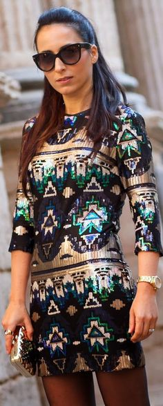 #Aztec #Sequined #Mini #Dress by With Or Without Shoes => Click to see what she wears