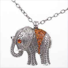 $4.99 Vintage Orange Rhinestone Studded Elephant Pendant Long Chain Necklace at Online Vintage Jewelry Store Gofavor