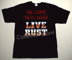 NEIL YOUNG & CRAZY HORSE Live Rust logo CUSTOM ART UNIQUE T-SHIRT   Each T-shirt is individually hand-painted, a true and unique work of art indeed!  To order this, or design your own custom T-shirt, please contact us at info@collectorware.com, or visit http://www.collectorware.com/tees-neilyoung_andrelated.htm