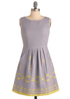 Los Angles Dress - Mid-length, Casual, Urban, Purple, Yellow, Print, Pleats, Pockets, A-line, Sleeveless