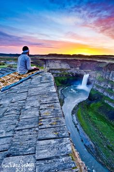 Sit on this ledge at Palouse Falls in  Palouse Falls State Park, WA
