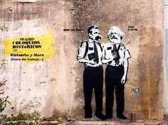 X presents: Historical Conversations, Today: Nietzsche and Marx (out of work. -Shut up and sell. Graffiti, Street Art, Urban Art, Artist At Work, Memes, Gallery, Movie Posters, Corner, Teaching