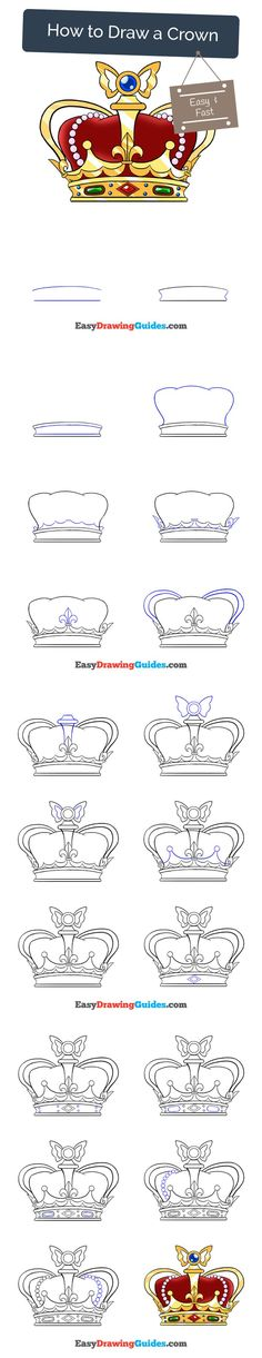 Learn How to Draw a Crown: Easy Step-by-Step Drawing Tutorial for Kids and Beginners. #crown #drawing #tutorial. See the full tutorial at https://easydrawingguides.com/how-to-draw-a-crown/