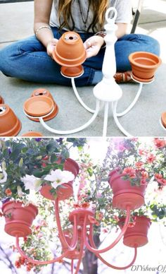 I'm thinking about making this Chandelier planter to hang in the chicken coop run. The girls would love it!