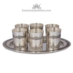 Antique Glasses With Tray Set Antique Silver, Antique Jewelry, Silver Jewelry, Diamond Jewelry, Silver Cutlery, Silver Trays, Silver Pooja Items, Silver Lamp, Jewel Tone Wedding