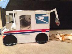 Cardboard postal truck for my sons kindergarten parade.