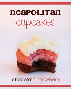 Neapolitan cupcakes! Made with a strawberry cake mix, brownies and cream cheese frosting. Yum!