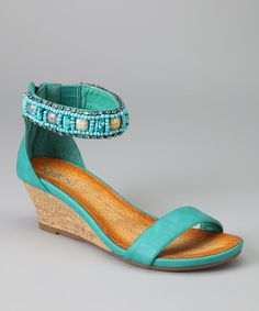 Turquoise Ginny-04 Wedge Sandal by Refresh on #zulily