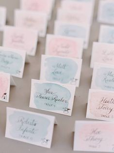 The blush and mint escort cards are attractive and functional! The colors and the cute drawings in the bottom corners indicate the entree choice of each guest. Wedding Guest Table, Seating Chart Wedding, Wedding Place Cards, Wedding Paper, Seating Charts, Wedding Stationary, Wedding Invitations, Invites, Wedding Themes