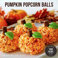 Pumpkin PopCorn Balls #halloween