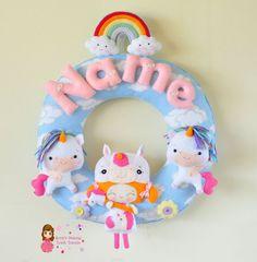 Personalize Felt Name Wall Decor - Nursery Decor - Theme Unicorn Princess (Garland / Wreath)