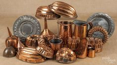 Large collection of copper cookware and molds | Bidsquare