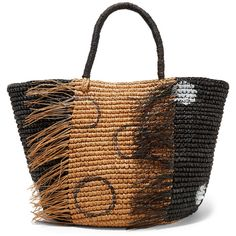d2e80e4dd8 Sensi Studio Frayed woven toquilla straw tote ( 290) ❤ liked on Polyvore  featuring bags