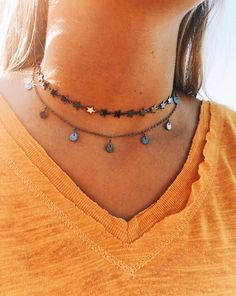 Gunmetal Collection Chokers: - Gunmetal/Oxidized Silver - Lobster Claw Clasp - extender Top Choker (Star)- with extender Bottom Choker (Coin)- with extender Cute Jewelry, Jewelry Accessories, Jewelry Necklaces, Jewelry Design, Women Jewelry, Jewellery, Cheap Jewelry, Silver Jewelry, Bohemian Accessories