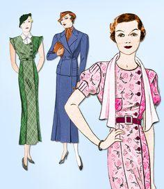 1930s Vintage Simplicity Sewing Pattern 1178 Ladies Street Dress & Jacket Sz 38B #Simplicity #StreetDressPattern