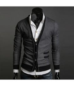 Constrast Mens Cardigan - Apostolic Clothing $38.50