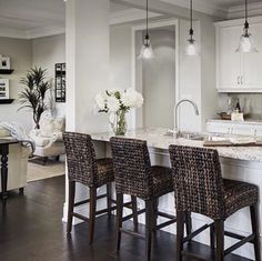 Classy Kitchen Bar Stools Addition to Your Kitchen - Home to Z Kitchen Bar Lights, Kitchen Stools, Kitchen Redo, Kitchen Paint, Counter Stools, Kitchen Island, Kitchen Cabinets, Pottery Barn Kitchen, Wicker Bar Stools