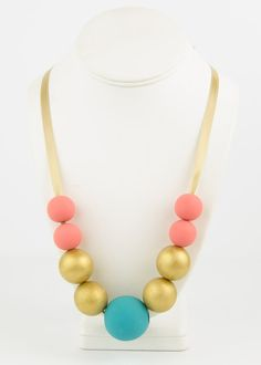 Wood Bead Necklace Aqua Gold Peach Necklace Wooden Necklace