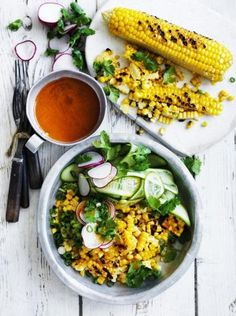 Grilled corn with cucumber, radish and coriander with smoked chilli and miso butter sauce.