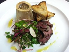 Roasted Bone Marrow with Housemade Beef Shank Pastrami, Radish Salad, & Toast Points @ Union Square Cafe