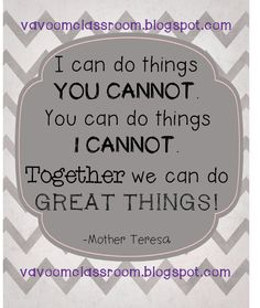 I & U together we can do great things! Cooperative Principle, Cooperative Learning, School Themes, Classroom Themes, Customer Service Week, Together Quotes, Teen Life, Together We Can, Printable Quotes