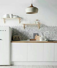 All white and marble hexigon