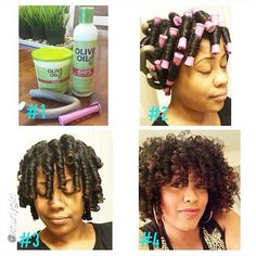 """by """"Rod/Flexi rod set pictorial: I washed my hair and used Olive Oil Moisturizing Hair Lotion Protective Hairstyles For Natural Hair, Natural Hair Tips, Natural Hair Journey, Natural Hair Styles, Natural Baby, Au Natural, Natural Curls, Perm Rods, Flexi Rods"""