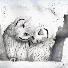 Ink drawing with sweet lovers howls<br/> <br/> Owl, lovers, hugs