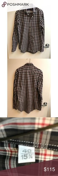 NWOT LANVIN Cotton Poplin Plaid Button Up Shirt M Gorgeous Lanvin men's button down shirt in perfect condition. Made of cotton poplin in a black, gray, and red plaid pattern, it's fantastic for year-round formal and casual events. This could also work on women for a breezy, low-key look.   Size tag says 40-15 3/4, so this would best fit a medium (men's sizing).   New without tags! Lanvin Shirts Casual Button Down Shirts