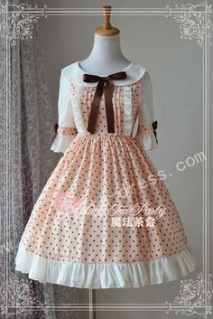 Summer Sweet Round Collar Lolita Dress. LOVE it! The pink and brown go so well together, and the cut is simple yet cute!