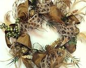 Unique animal print & feathers wreath