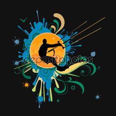 Surfer t-shirt graphics with kite — Illustrazione Stock #62783123