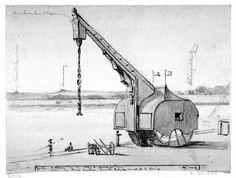 ARNHEM (Pays-Bas) Havenkraan, rond 1800 Duidelijk zichtbaar is het tredgedeelte binnenin de molen. Op de achtergrond Klingelbeek (rechts van de kraan) en duunoog (Duno) direct links van de kraan. Vernieuwde (1782) havenkraan.