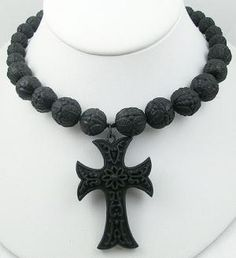 Victorian Vulcanite Cross on Beaded Necklace - Garden Party Collection Vintage Jewelry