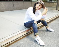 Steal this blogger styling trick to add a cool-girl touch to casual basics. Rolling your boyfriend jeans makes the slouchy fit more flattering, and let's you show off cool kicks.   - Seventeen.com