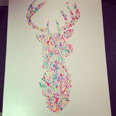 My own DIY canvas art - fluro deer head