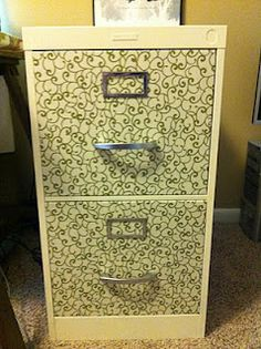 File Cabinet redo... i like the fabric... lots of other great ideas too