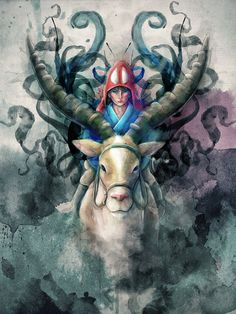 "Princess Mononoke Demon Ashitaka Digital Painting - signed museum quality giclée fine art print 16"" x 20"". $25.00, via Etsy."