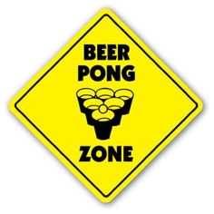"BEER PONG ZONE Sign table drinking game ping balls by ZANYSIGNS. $8.99. This is a brand new 12"" tall and 12"" wide diamond shape sign made from weatherproof plastic with premium grade vinyl. The sign is perfect for indoor or outdoor use, made to last at least 3-4 years outside. The sign has rounded corners and a 1 hole pre-drilled for easy mounting. These signs will not rust or fade. Be sure to check out all of our other signs, they make great gifts!!"