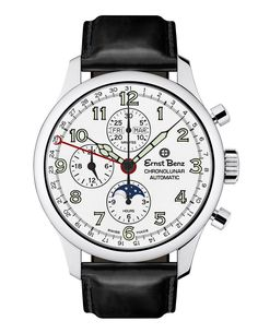 Ernst Benz Men's Automatic Watch ChronoLunar White Dial Brown Leather Strap Swiss Made Men's Watches, Cool Watches, Wrist Watches, Fashion Watches, Men's Fashion, Elegant Watches, Beautiful Watches, Casual Watches, Benz