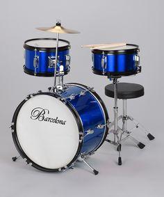 I've got to find a way to make a drum set usable for Liam  Blue Junior Drum Set