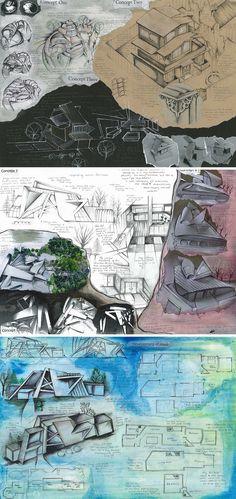 Art Sketchbook Ideas: Creative Examples to Inspire High School Students International GCSE Design and Technology Architecture Sketchbook, Art Sketchbook, Architecture Board, Architecture Design, Smash Book, Portfolio Design, Art Inspo, Sketch Manga, Art Watercolor