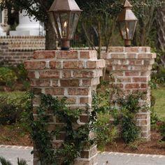 34 Ideas For Exterior Entrance Gas Lanterns Brick Driveway, Driveway Entrance, Brick Fence, Driveway Landscaping, Landscaping Ideas, Driveway Posts, Acreage Landscaping, Asphalt Driveway, Fence Posts