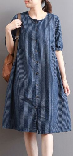 c2a78caa5a9 Elegant dark blue pure linen dresses plus size holiday dresses Fine short  sleeve o neck cotton clothing