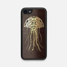 This premium Wood iPhone 7/8 case features a gold Jellyfish illustration on a wenge backing. Our cases are handcrafted in Toronto, Canada.